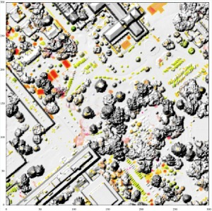 Custom visualization of significant change map WSI-NOAA airborne point clouds, NPS campus, Monterey, CA Only height changes above 95% significance level shown (red = loss, green = gain, saturation increases with flatness)